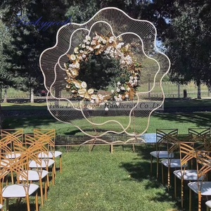 LDJ991 new arrival wedding metal stand arch elegant wedding party stage flower shape backdrop for sale