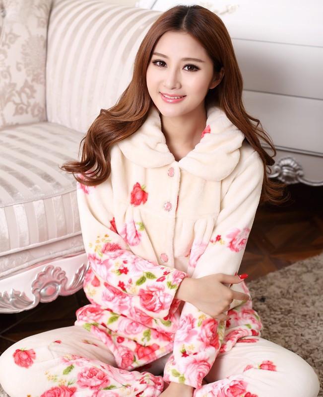 3f5c52395cd Wholesale- Voplidia Plus Size Women Flannel Thich Fleece Pajamas ...