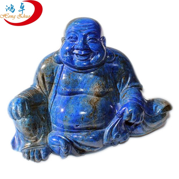Natural lapis lazuli crystal laughing buddha statues for sale standing buddha statue