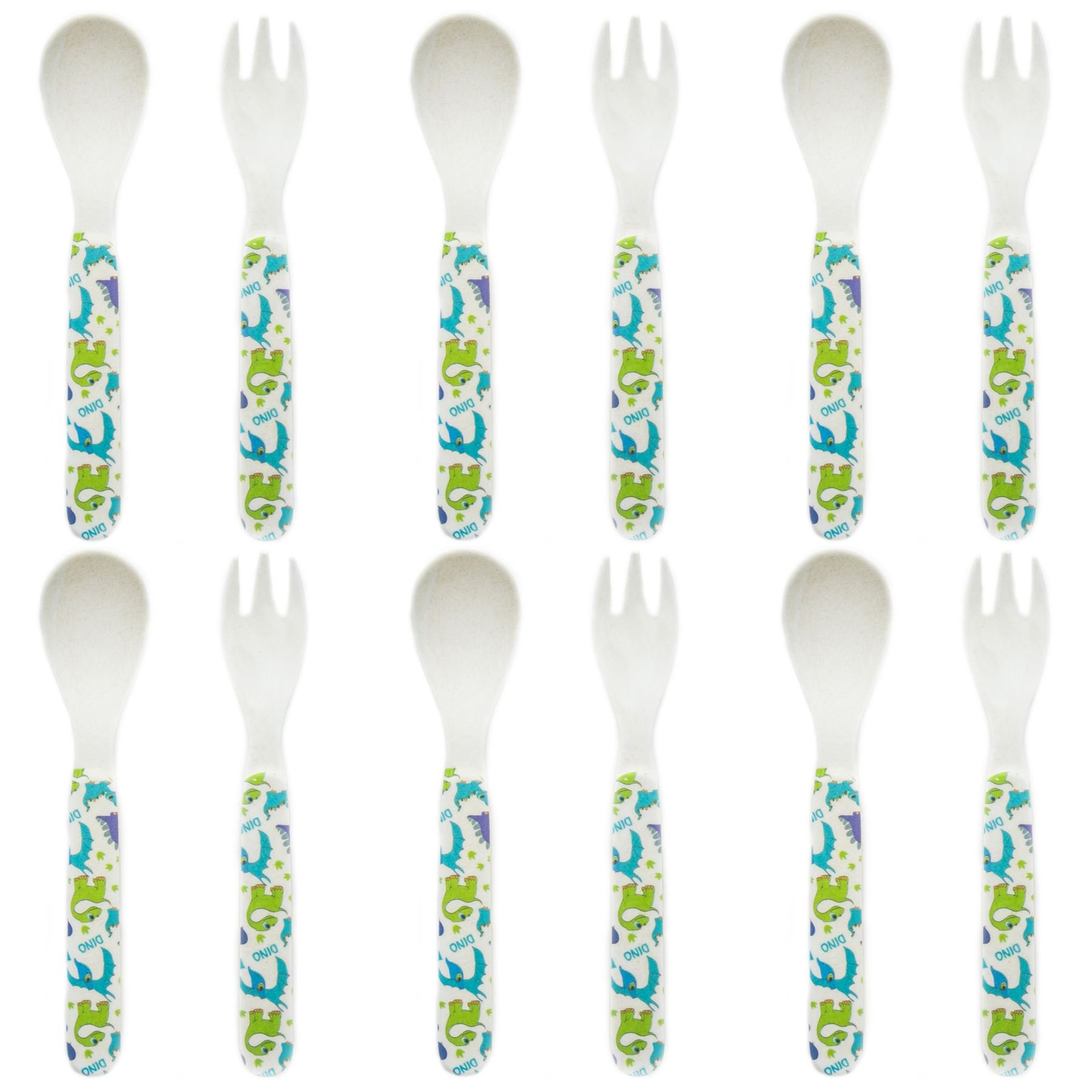 Tiny Dining Children's Bamboo Fibre Dining Fork & Spoon Cutlery Set - Dinosaur - Pack of 6