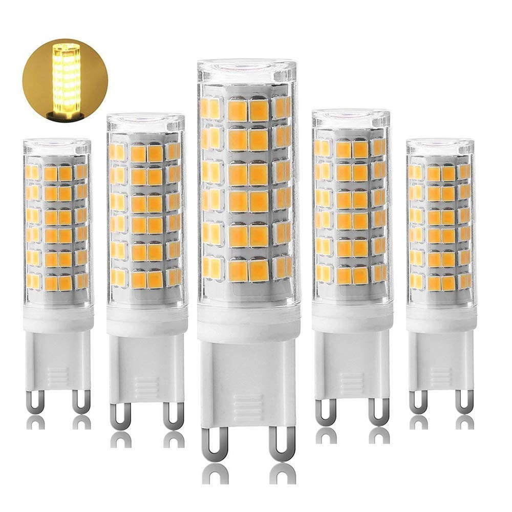 [5-Pack] Dimmable G9-7.5W LED Bulbs, Equivalent to 80W 75W 60W Halogen Bulb, Warm White 3000K,G9 Bi Pin Base Bulb,360 Omni-Direction Beam Angle,AC 110V/120V/130V