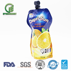 50ml 100ml 500ml special shape plastic packaging bag for juice, soft drink and fruit juice stand up spout pouch