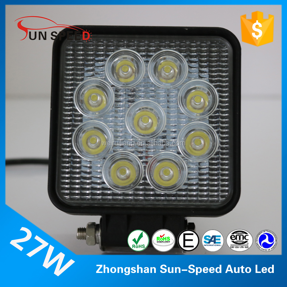 Big sale tractor exploring light led off road car spot beam work lamp 27w 9 pcs epistar square driving lamp