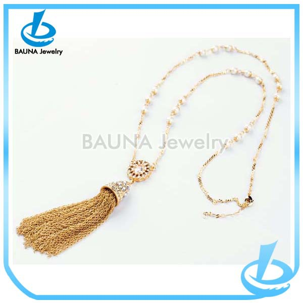 Golden plated long metal tassel necklace