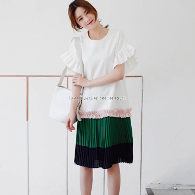 2017 Fashion Korean Style Women Summer Puff Sleeve Chiffon Dress