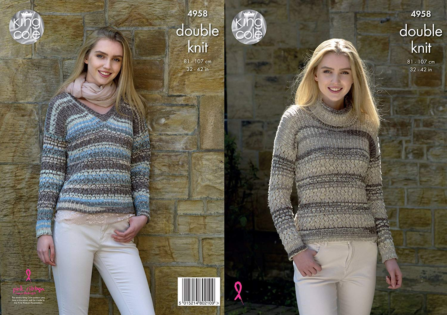 c20b9b53f Get Quotations · King Cole Ladies Double Knitting Pattern Womens V or Polo  Neck Lacy Sweater (4958)