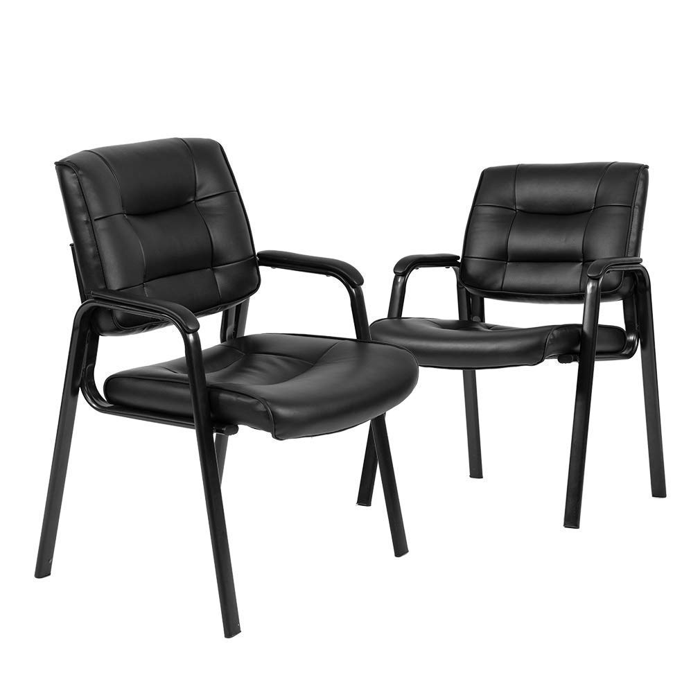 Guest Chair,Reception Chairs Conference Chairs Stack Meeting Executive Chair Set of 2 with Arm Lumbar Support and Cushion Seat for Home Office Waiting Room