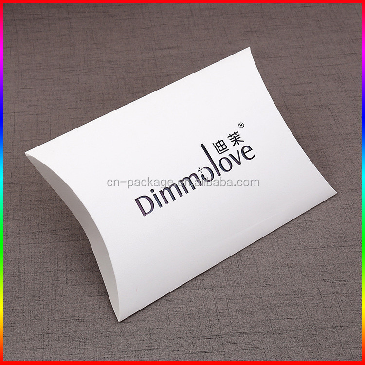 custom white pillow paper box packaging black embossed logo