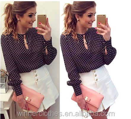 new style Round Neck Women Casual Long Sleeve Blouses Summer Chiffon Polka Dots Shirt Tops