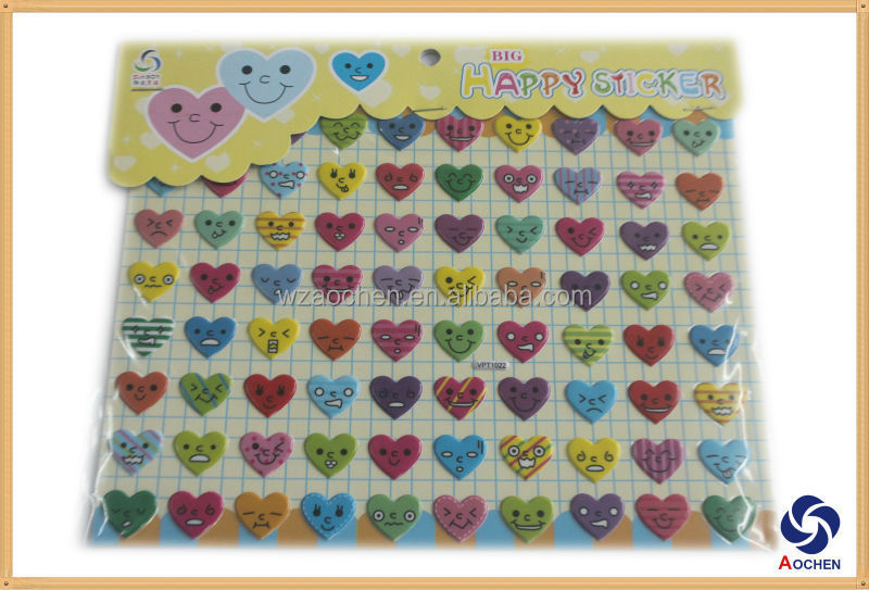 2014 Newest Heart Shape Faces Puffy Sticker