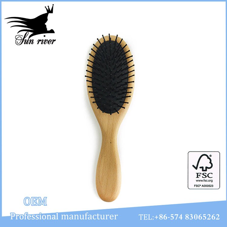 Easy-taking natural wooden baby hair brush with nylon pins
