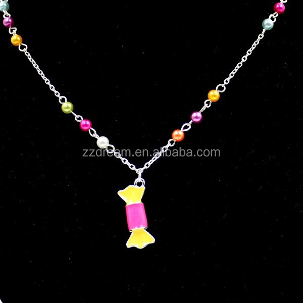 Fashion Colorful Beaded Epoxy Candy Pendant Children Jewelry Set