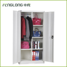 Double door steel cupboard wardrobe design metal wardrobe