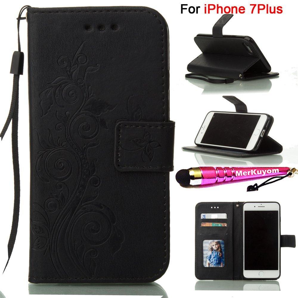 "iPhone 7 Plus - Case, MerKuyom [Photo Frame Holder][Wrist Strap] [Embossed Flower] Kickstand Premium PU Leather Wallet Pouch Flip Cover Case For Apple [ iPhone 7 Plus ], 7Plus 5.5"", + Stylus (Black)"