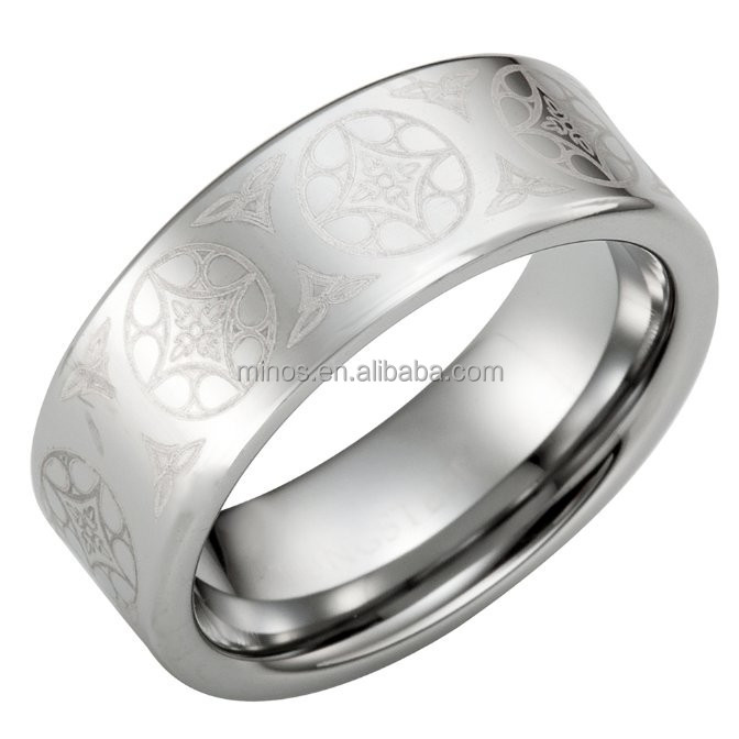 Mens Ancient Ornaments Silver Tungsten Ring Band Online Wholesale