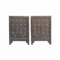 chinese antique lacquer wooden apothecary medicine chest cabinet furniture
