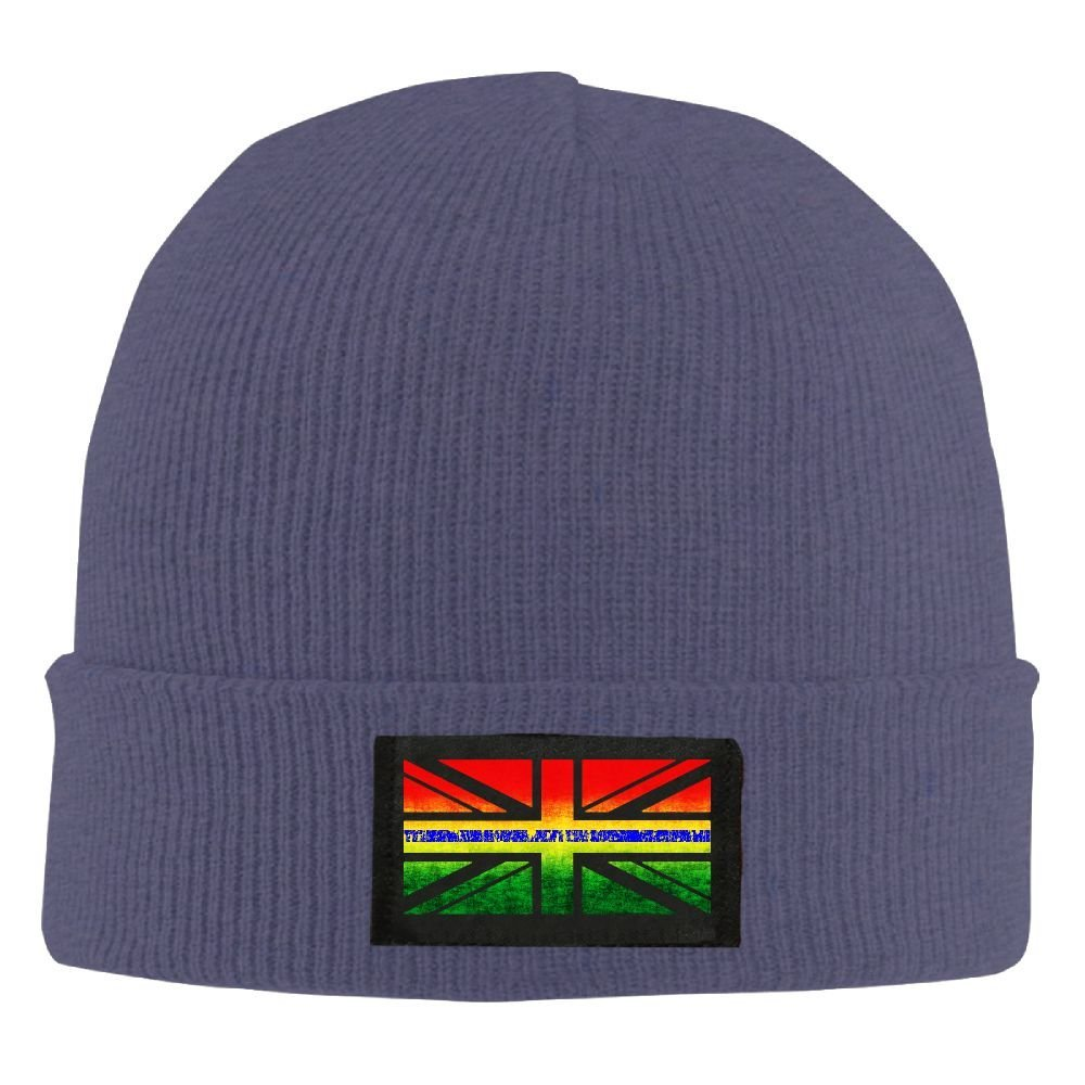 b1a9993d2a5 Get Quotations · Distressed Thin Blue Line Uk Union Jack Unisex Warm Winter  Hat Knit Beanie Skull Cap Cuff