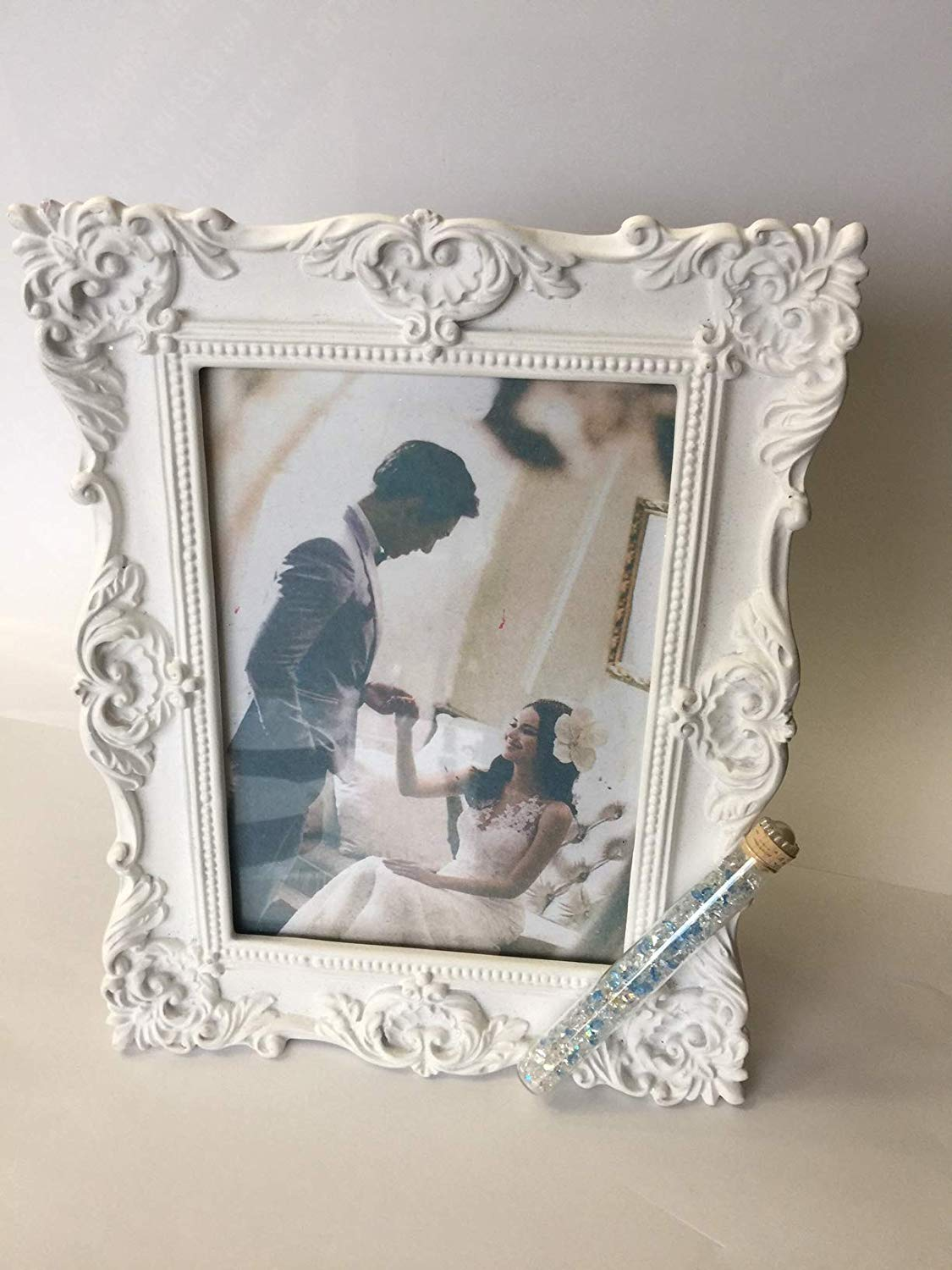 Jewish Wedding White Frame Photo Picture Frame With a Container for Broken Wedding Glass, 5 x 7 Picture Bridal Shower Or Wedding Gift