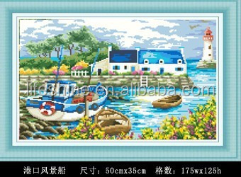 "'The boat of the port "" DIY Full Diamond Painting"