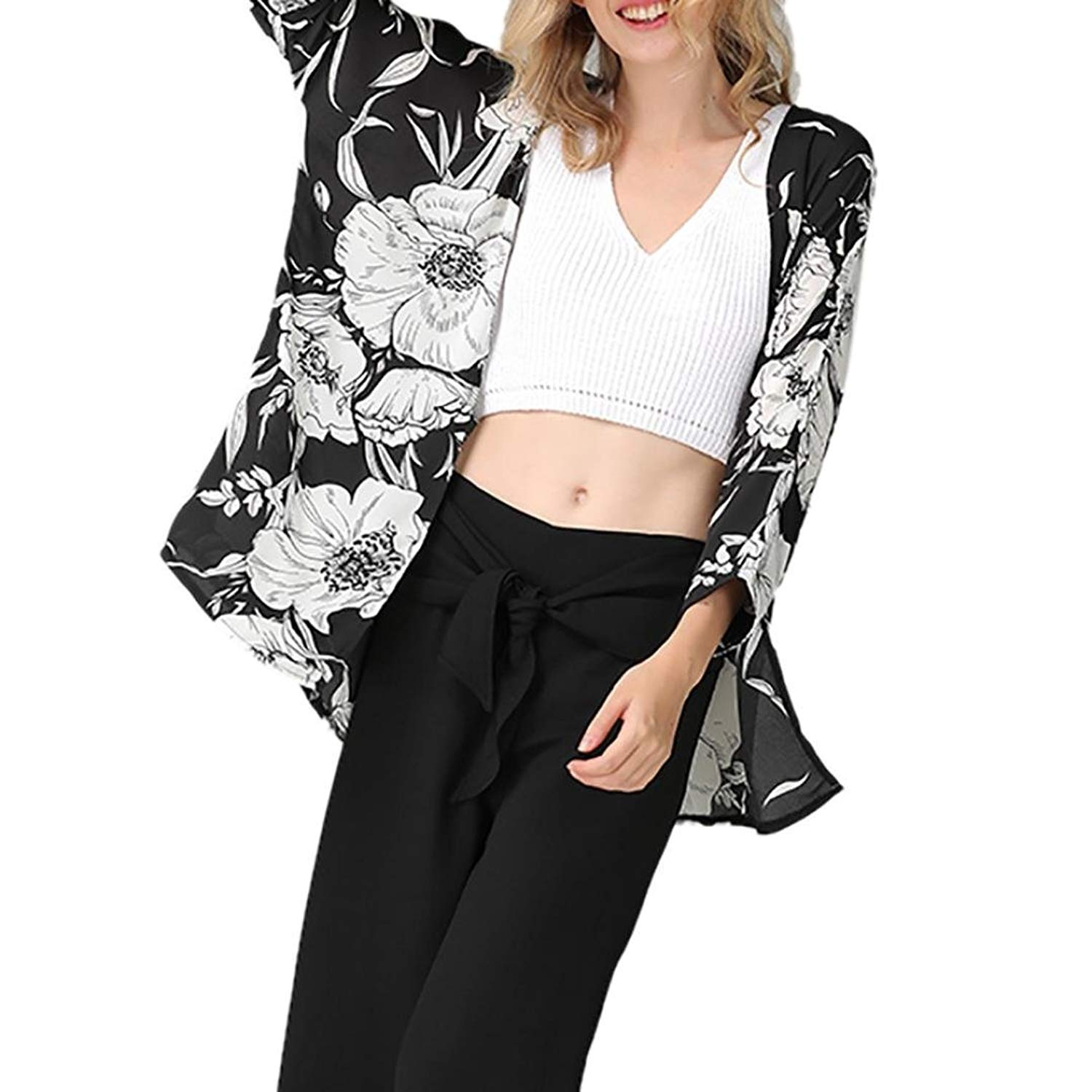 ac7748b77d Get Quotations · Pervobs Women Cover Ups Big Promotion! Womens Loose Swing  Floral Cover Blouse Long Swimwear Beach