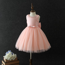 Wholesale Vietnam children's clothing pink princess party dress tulle baby girl wedding dress baby frock design for 6 years old