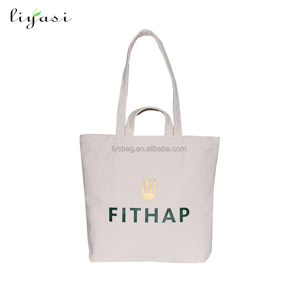 Custom high quality fashion simple eco cotton fabric college student long strip short handle tote canvas shoulder bag for girls