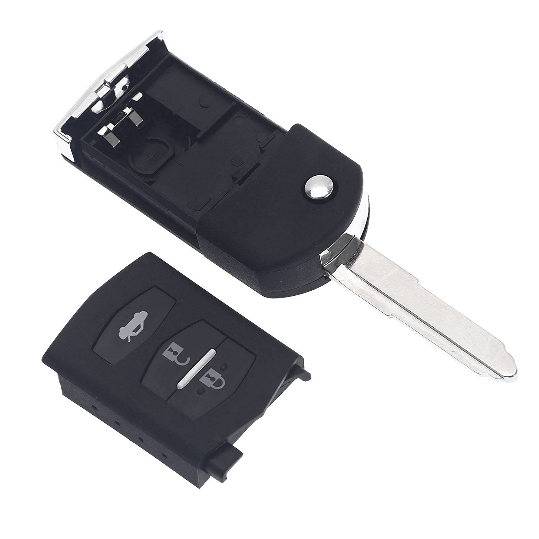 Dophee 1pc 3 Button Remote Folding Flip Key Shell Case Fob Pad for MAZDA 2 3 5 6 RX8 MX5 3B