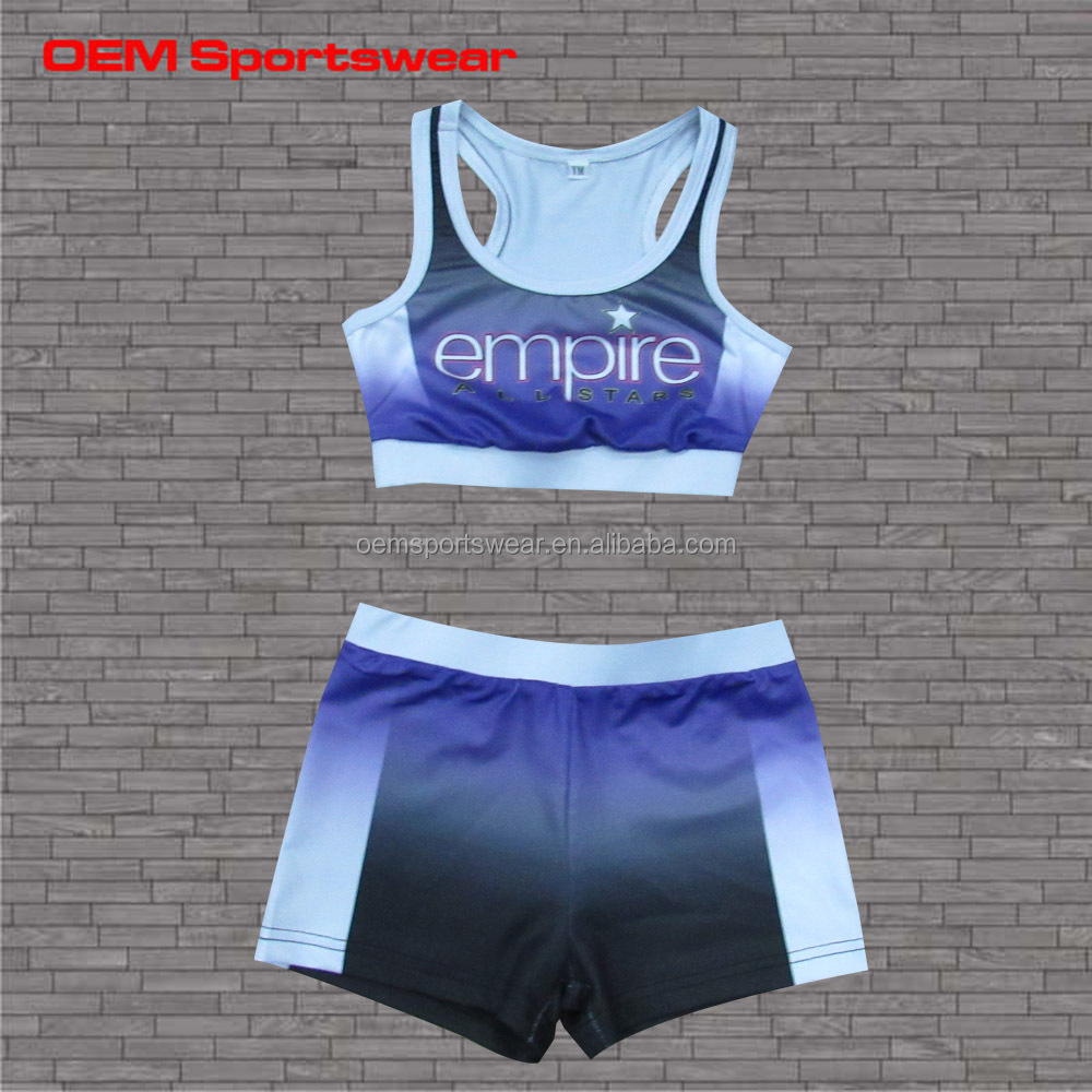 Custom cheer apparel cheerleading sports bra and shorts