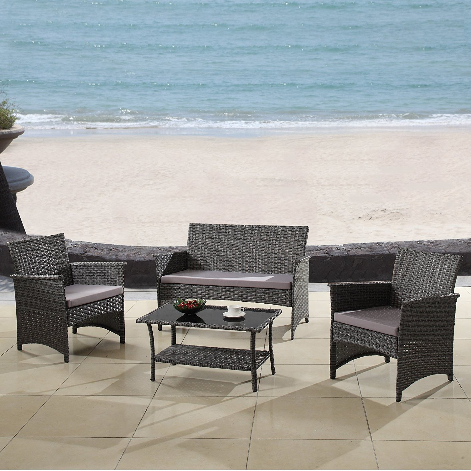 Outdoor Patio Furniture Set Cushioned 4 Pieces Wicker Patio Set Table, Two Chairs and a Sofa Gray Finish with Gray Cushions Outdoor Furniture Lawn Rattan Garden Set