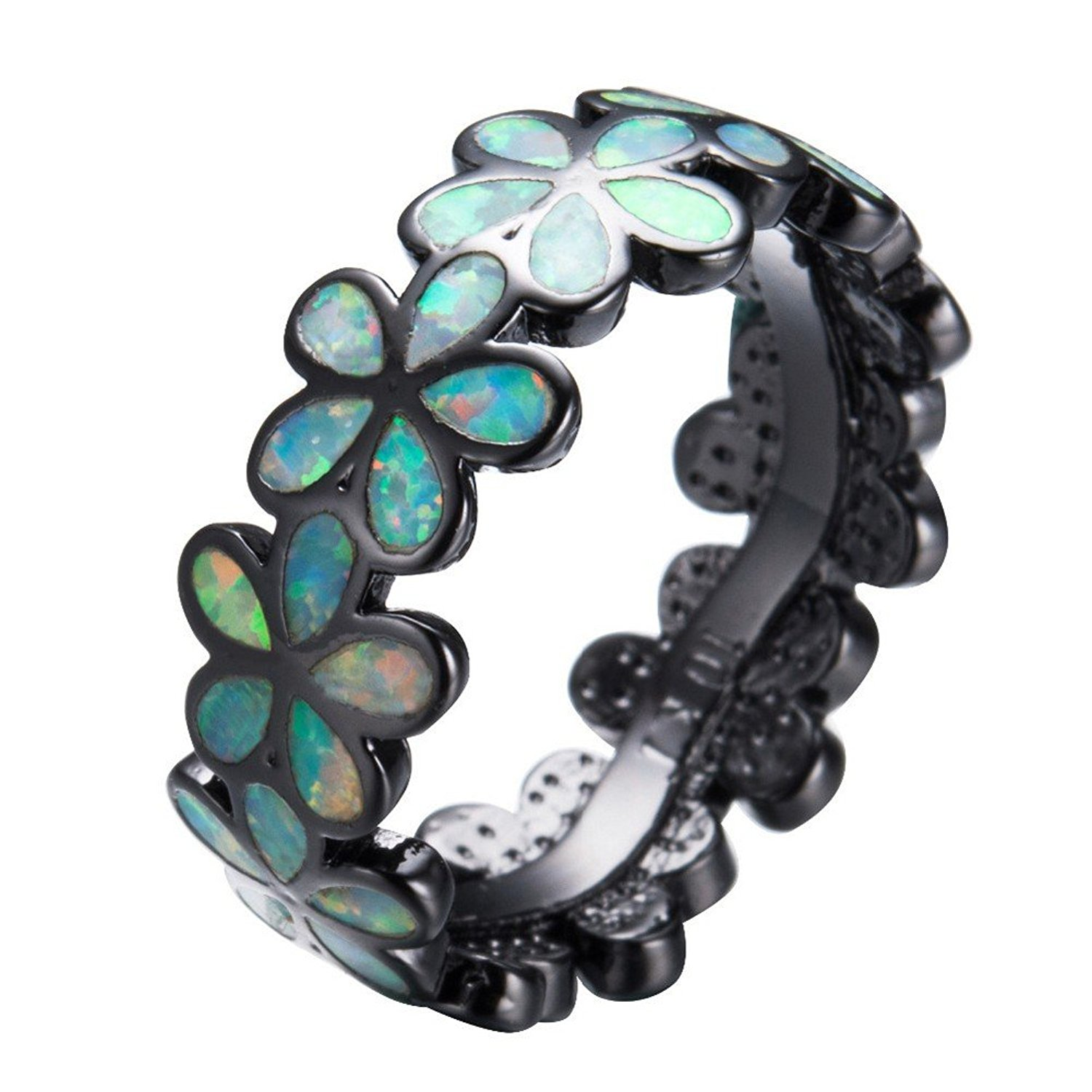 PSRINGS Lovely Flower Shape Rainbow Fire Opal Rings Lady Black Gold Filled Wedding Party Engagement Promise Ring