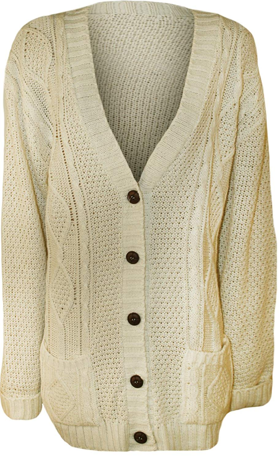 33b2b4744b Get Quotations · WearAll Women s Plus Size Button Cable Knit Cardigan -  Cream - US 16-18 (