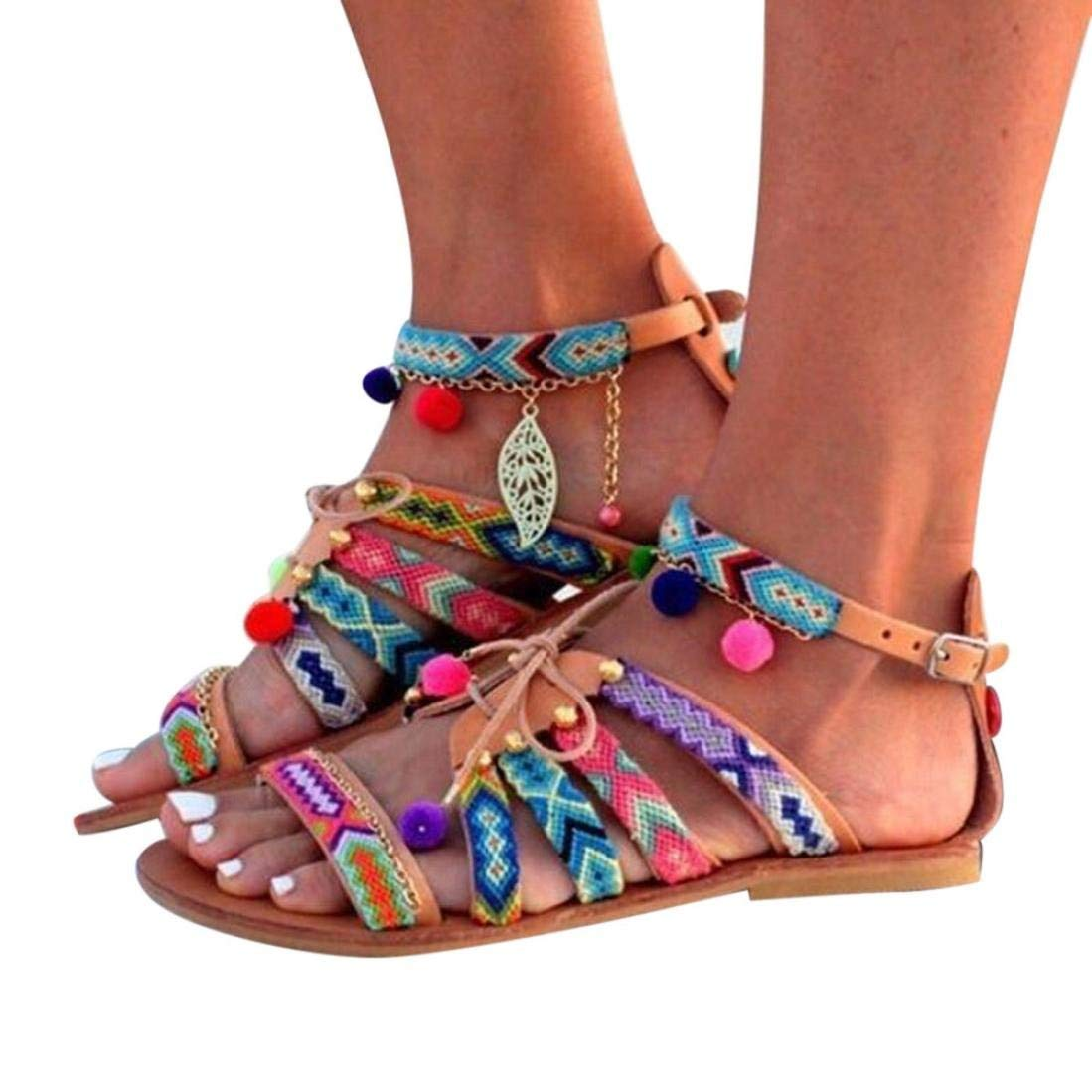 Sandals,Clearance!!Duseedik Women Flat Sandals Summer Flat Shoes Ladies Flip Flops Bohemia Sandals Leather Sandals Flats Shoes Pom-Pom Sandals Beach Sandals for Women (Multicolor, US:7(CN:39))