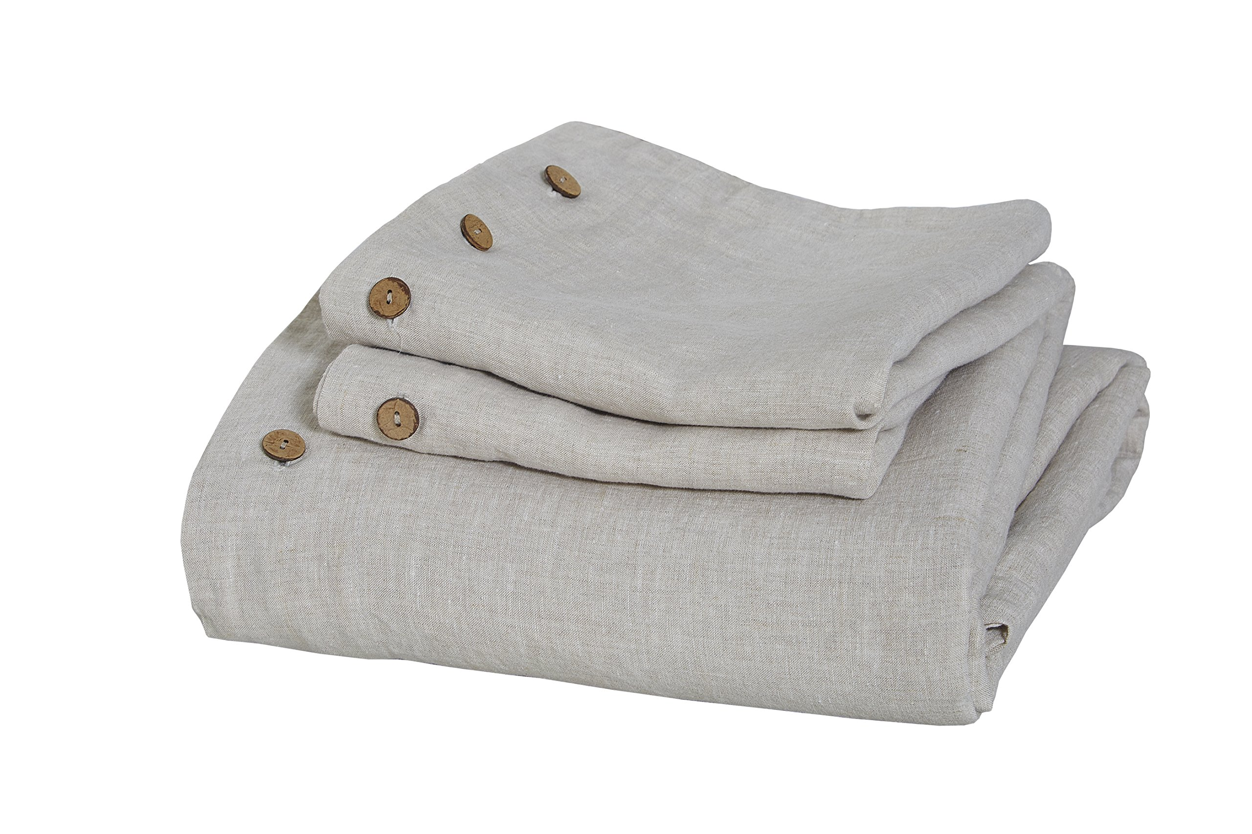 Pure French Linen 3PC Duvet Cover Set in Natural Linen Color, with Natural Coconut Shell Button Closure on Both Duvet Cover and Shams. (QUEEN)