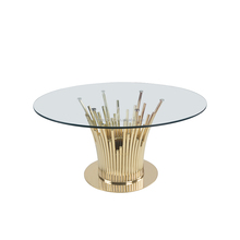 DT5766 luxury plated stainless steel and tempered glass dining table