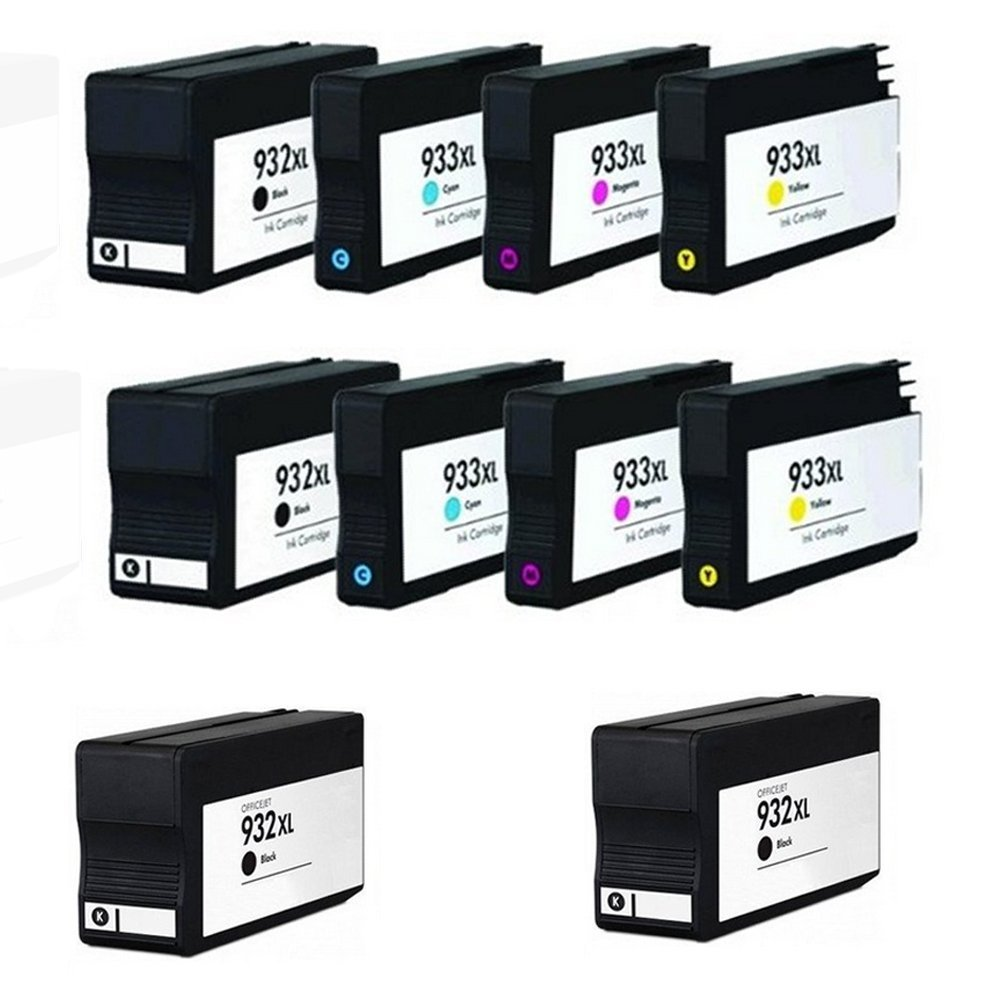HOTCOLOR?10PK Replacement 932/933 932XL 933XL CN053AN CN054AN CN055AN CN056AN Ink Cartridges Officejet 6100 6600 6700 7610(4 Black, 2 Cyan, 2 Magenta, 2 Yellow)