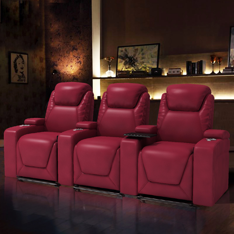 Red Home Leather Theater Seating In