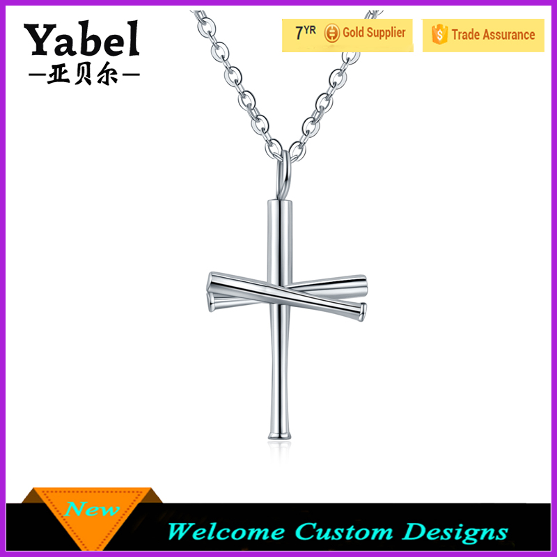 Jewelry manufacturer china custom stainless steel pendant baseball bat cross necklaces