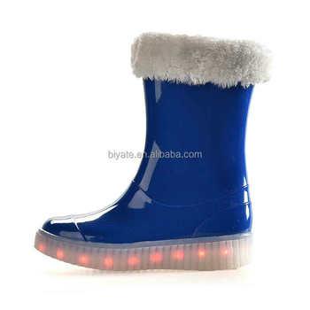 75714603d87c Women winter warm rain boots with led light new fashion innovative girl  rain shoes hot sale