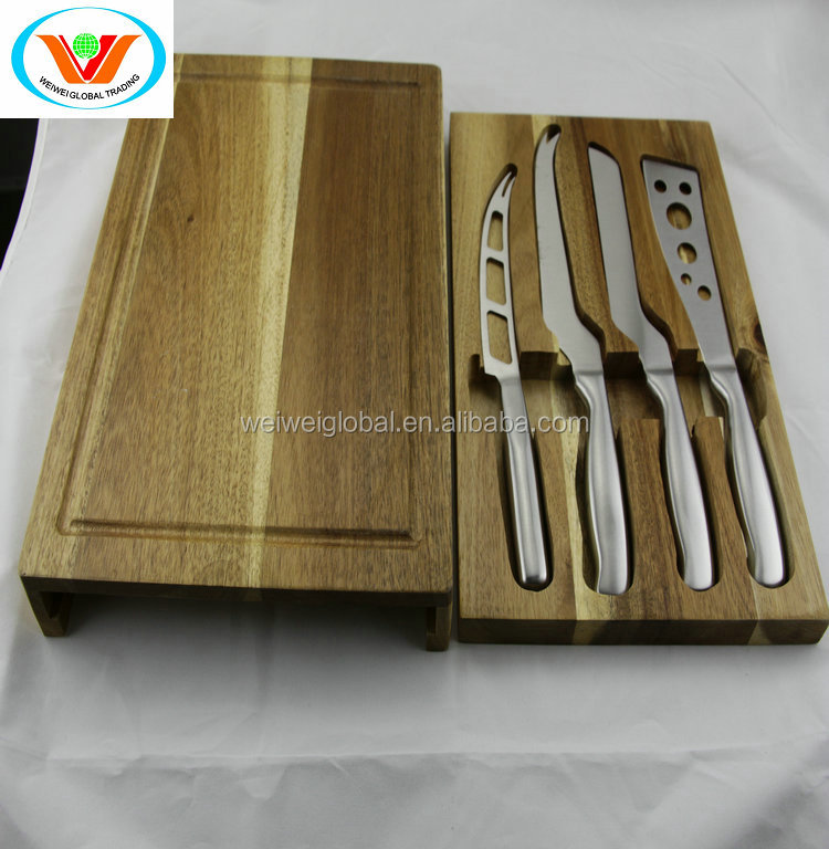 acacia rose wood Drawer box cutting board FDA LFGB long blade cheese knife set