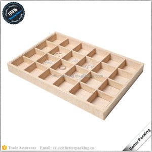Light Brown Jewelry Empty Display Diamond Display Beads Display Tray With 24 Grids STS048F