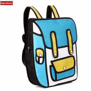 Osgoodway 2018 New 3D Jump Style 2D Drawing Cartoon Paper Bag Comic Backpack Messenger Tote Fashion Cute Student Bags