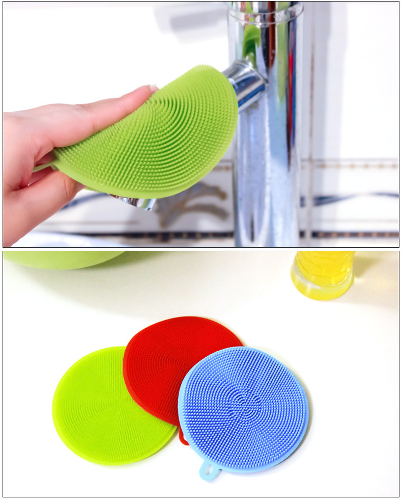 Kitchen Cleaning Brush Silicone Dish Bowl Scouring Pad Pot Pan Easy to clean Brush