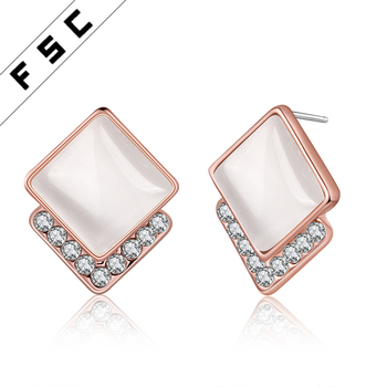 2017 Latest Design Rose Gold Plated Semi Precious Stone Square Stud Earring For Women