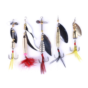 Hengjia fishing lures spinner spoons baits sequin Paillette Pure copper hook 5 in 1