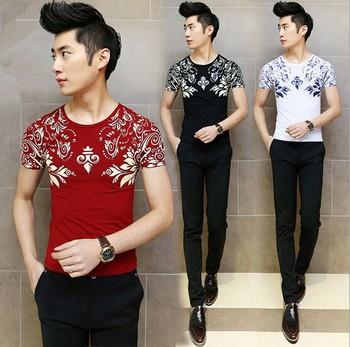 D95322t 2015 Summer Korean Fashion Men T Shirt Design Wholesale