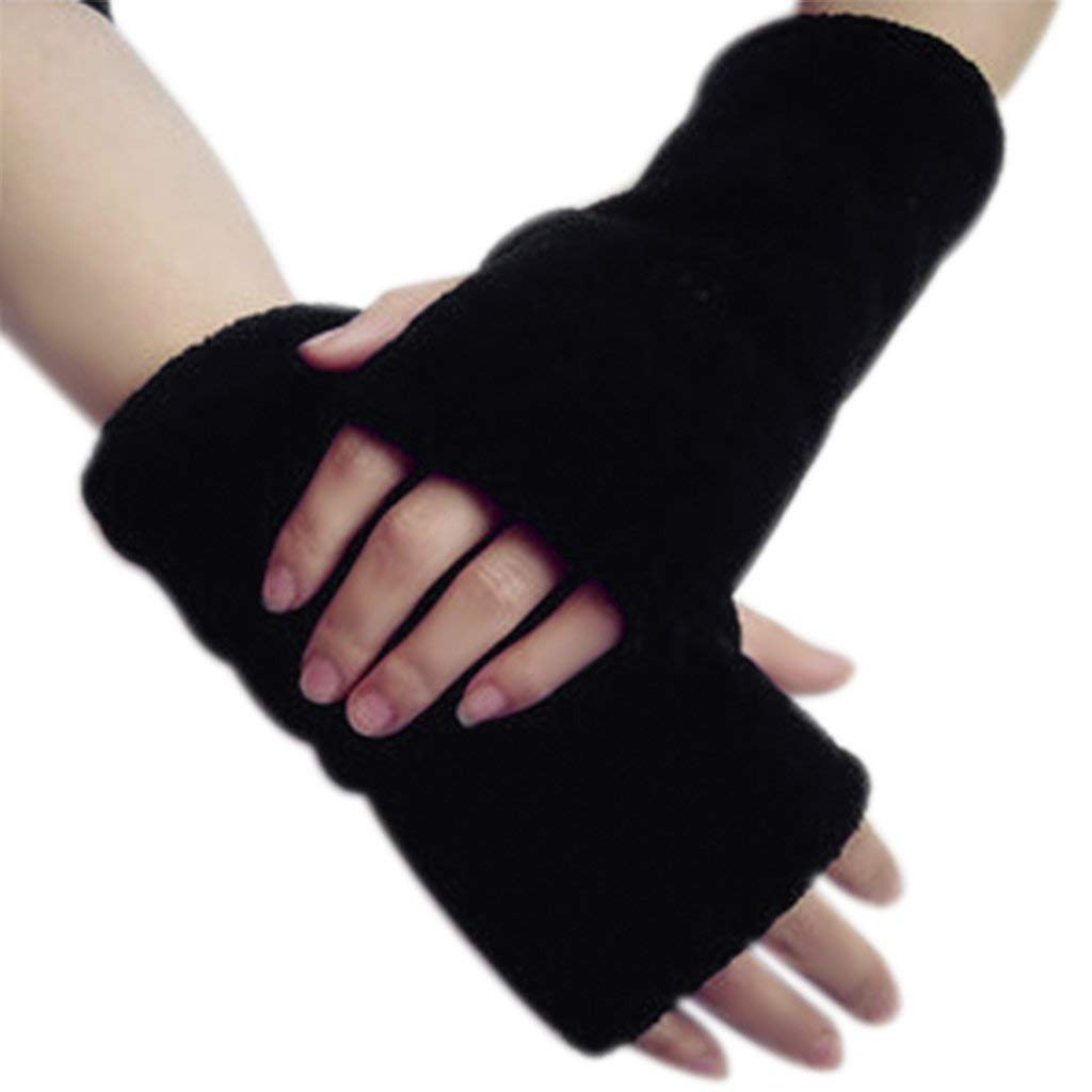 Fashion Soft Coral Fleece Thicken Gloves Winter Warm Faux Fur Arm Fingerless Gloves Stretchy Half Finger Thumb Hole Gloves Mittens Wrist Hand Warmer for Women Ladies Girls Christmas Gifts