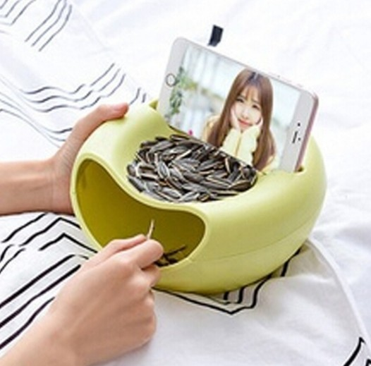 Adorable Snacks Fruit Dish Plate Bowl Double Layers Phone Holder