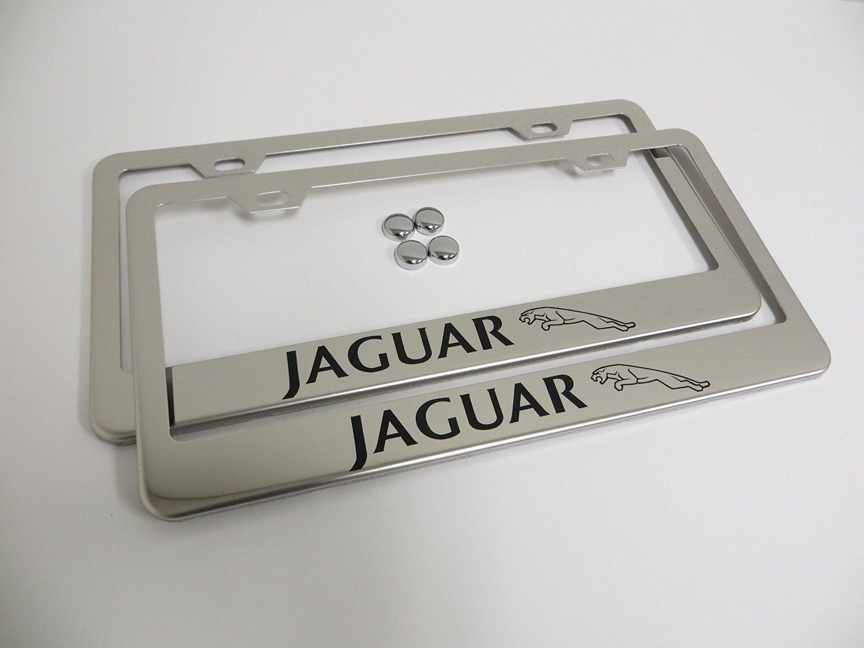 STAINLESS STEEL Chrome Metal License Plate Frame w//Screw caps JAGUAR LOGO