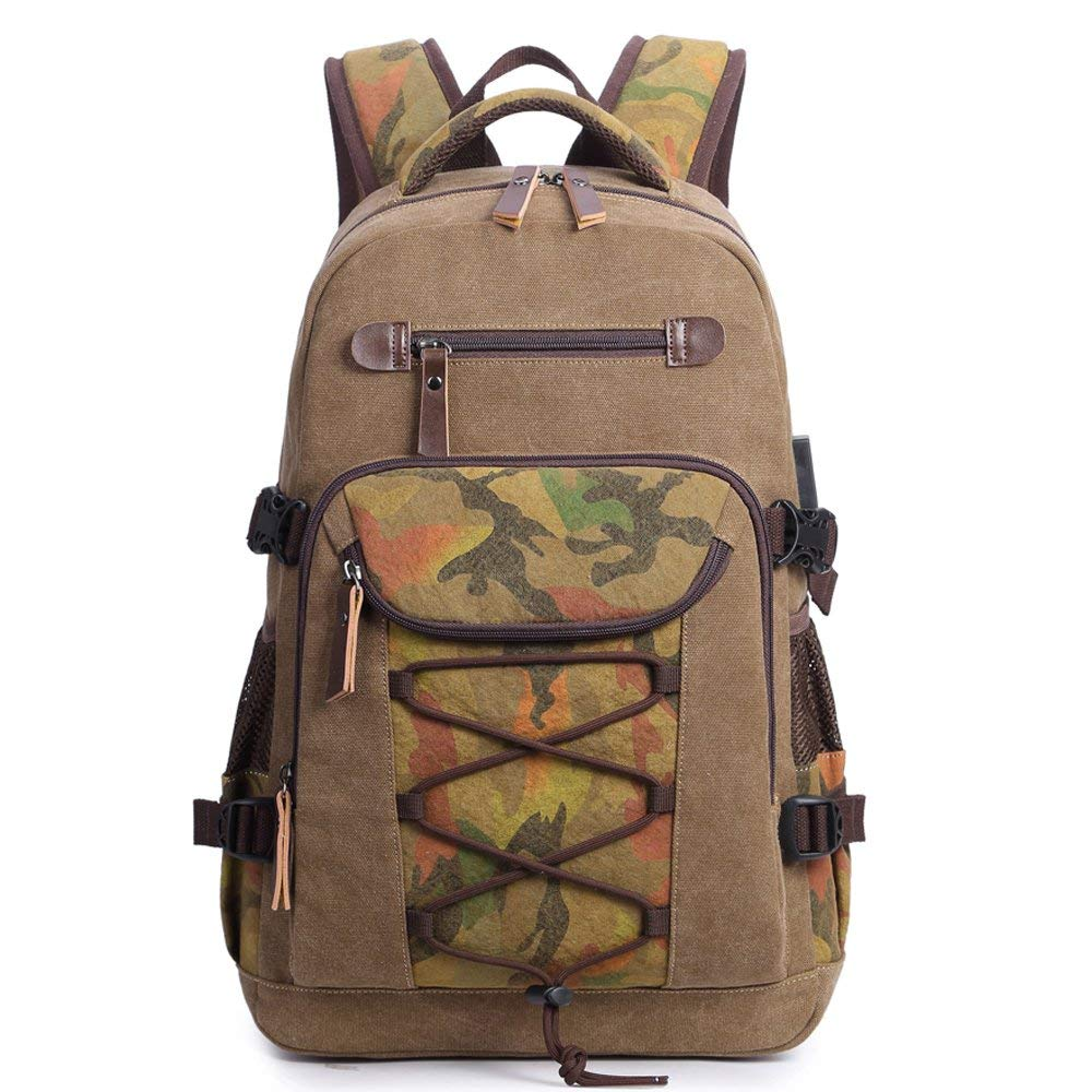 441f29d5d Get Quotations · Canvas Backpack, Laptop Backpack with USB Charging Port,  Vintage College School Backpack Travel Rucksack