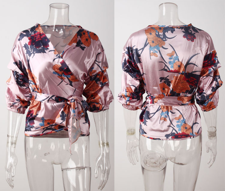 Bundled sashes sexy blouse female 2019 new shirt V-neck digital floral print blouse women shirt loose three quarter sleeve